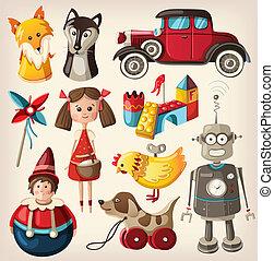 Set of colorful vintage toys - Set of colorful vintage...