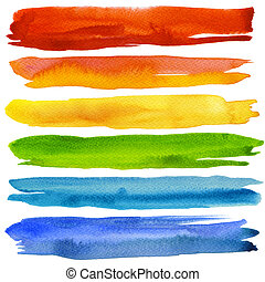 Set of colorful watercolor brush strokes. Isolated on white.