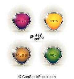 Set of colorful web buttons on white background, vector illustration. Silver shiny modern element. Vector design elements sticker. Set glossy download button, speech with shadow.