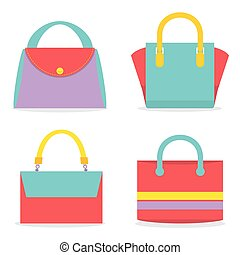 Set Of Colorful Women Bags.
