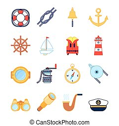 Set of colorful yachting icons. Sailing symbols