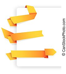 Set of colorful yellow origami ribbons.