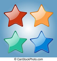 Set of colorfull glossy stars. Realistic badges. Elements fo your design. Vector Illustration.