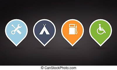 set of colorfull map pointers or pins with extra icons. vector illustrations isolated on black background.