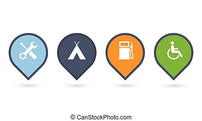 set of colorfull map pointers or pins with extra icons. vector illustrations isolated on white background.
