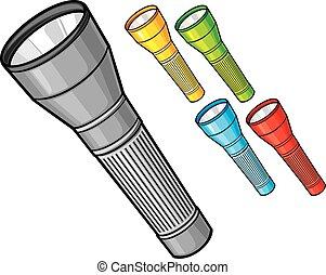 set of colorfully flashlights