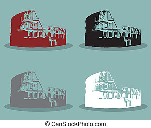 Set of Colosseum in Rome Black Silhouette Vector Illustration.