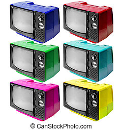 Set of colotful vintage analog television isolated on white clipping path.
