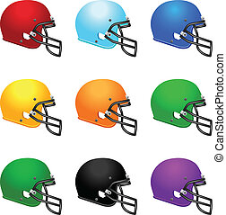 Set of colour footbal helmets