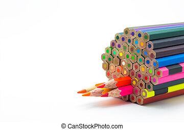 Set of colour of wooden pencils