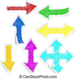 Set of coloured arrows