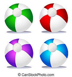 Set of coloured beach balls