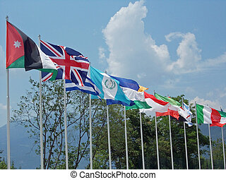 set of coloured flags of many nations of the world that...
