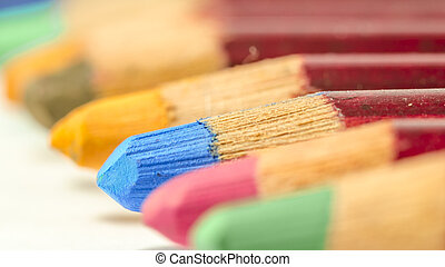 set of coloured pencil in line - group of coloured pencil in...