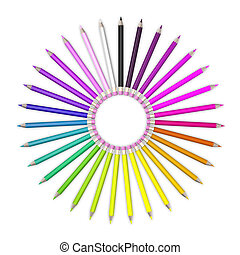 Set of coloured pencil. Pencils are aligned in a circle shaped and sorted using rainbow colours.