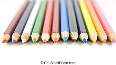 Set of coloured pencils with shadow
