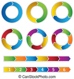 Set of colourful Circle Diagrams and arrows. This image is a...