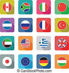 flat world flag icons - set of colourful flat world flag...