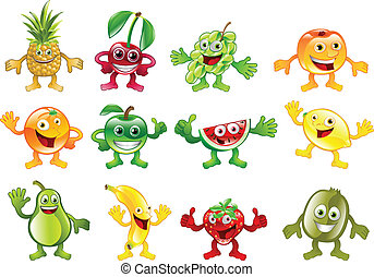 Set of colourful fruit character mascots - A set of happy...