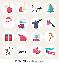 Set of colourful New Year icons