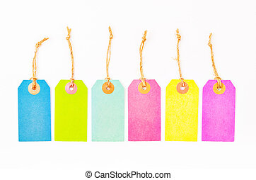 Set of colourful Paper blank price tags.