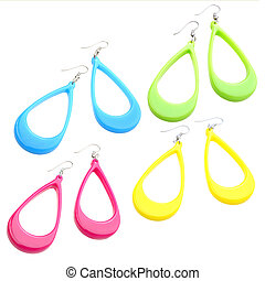 set of colourful plastic earrings isolated on white background