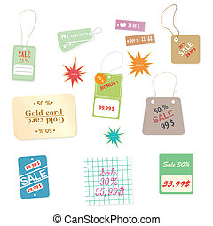 Set of colourful price tags on a wh