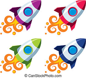 Vector rocket in four color schemes on white background