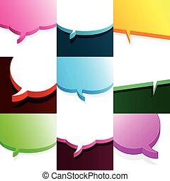 Set of colourful speech bubbles