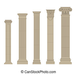 set of column 2 - set of greece column and pilasters eps10 ...