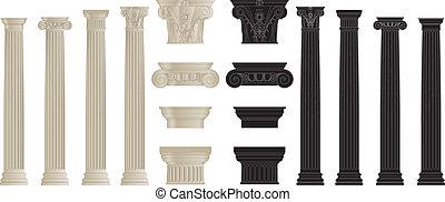 set of colums 2 - set of greece column. eps10 vector