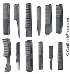 Set of combs isolated on white background.
