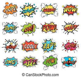 Set of comic bubble speech clouds, onomatopoeia - Sound...