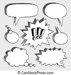 Set of comic bubbles. - Set of comic bubbles with halftone...