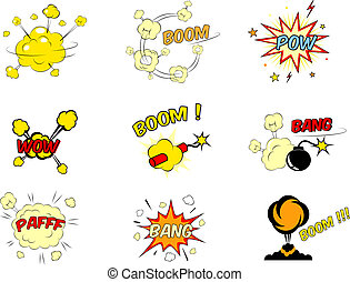 Set of comic cartoon text explosions - Set of colorful ...
