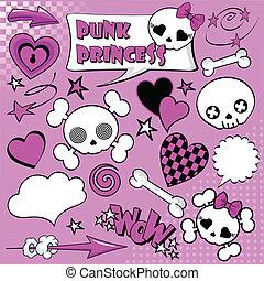 Set of comic elements %u201CPunk princess%u201D for your ...