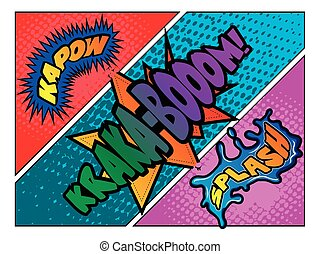 Set of comic onomatopoeias