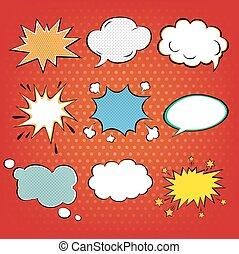 Set of Comics Bubbles in Pop Art Style