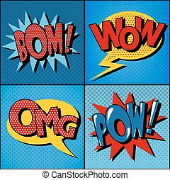Set of Comics Bubbles in Vintage Style