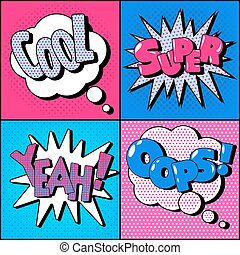 Set of Comics Bubbles in Vintage Style. Expressions Cool, Super, Yeah, Oops
