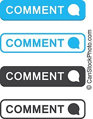 Set of comment button icon in a flat design