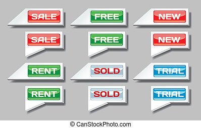 Set of commercial pointer signs - Set of sale, free, new and...