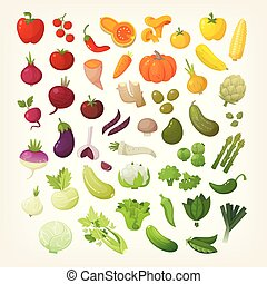 Set of common vegetables organized in rainbow layout.