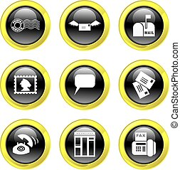 communication icons - set of communication icons on black ...
