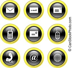 communication icons - set of communication icons on black...