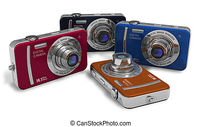 Set of compact digital cameras - Set of color compact...