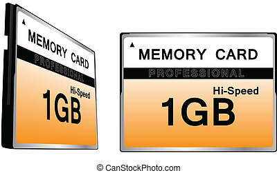 Set of Compact Flash memory cards color vector illustration