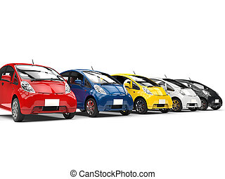 Set of compact modern electric cars - red, blue, yellow, white and black