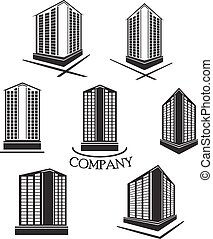 Set of Company building Vector logo and icon