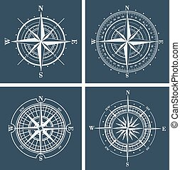 Set of compass roses. Vector illustration.